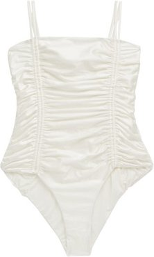 Chandler Tie-straps Ruched Swimsuit - Womens - Ivory