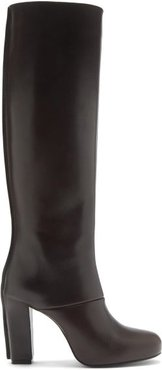 Panelled Leather Knee-high Boots - Womens - Dark Brown