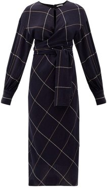 Victoria Wrap-front Checked Wool Dress - Womens - Navy
