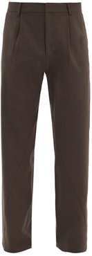 Twisted-seam Tailored Wool Wide-leg Trousers - Mens - Brown