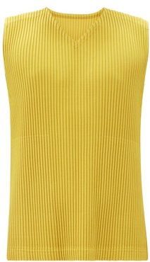 V-neck Technical-pleated Top - Mens - Yellow