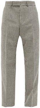 Houndstooth-check Wool Trousers - Mens - White Black