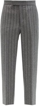 Striped Wool-flannel Trousers - Mens - Grey