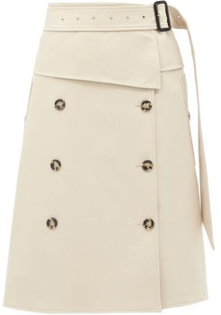 Belted Panelled-twill Midi Skirt - Womens - Beige