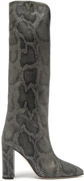 Knee-high Python-effect Leather Boots - Womens - Grey