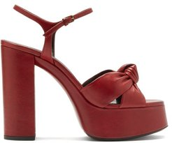 Bianca Knotted Leather Platform Sandals - Womens - Red