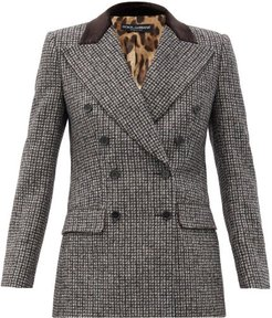 Double-breasted Wool-blend Suit Jacket - Womens - Grey Multi