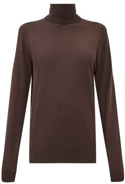 Roll-neck Cashmere Sweater - Womens - Brown