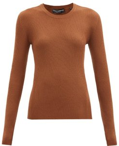 Round-neck Ribbed Virgin-wool Sweater - Womens - Brown