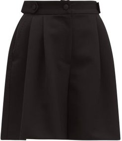 High-rise Tailored Wool-twill Shorts - Womens - Black