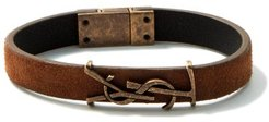 Ysl-plaque Leather And Antiqued-metal Bracelet - Womens - Brown