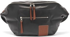 Puffy Leather And Canvas Belt Bag - Mens - Black
