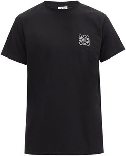 Anagram-embroidered Cotton T-shirt - Mens - Black