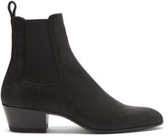Custar Snake-effect Leather Chelsea Boots - Mens - Black