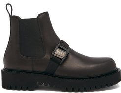 Buckle-strap Leather Chelsea Boots - Mens - Black