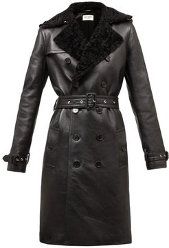 Double-breasted Shearling Trench Coat - Womens - Black