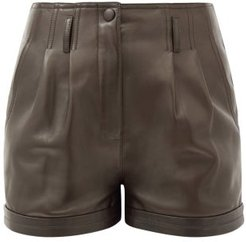 High-rise Pleated Leather Shorts - Womens - Dark Brown