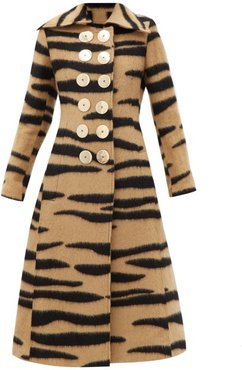 Double-breasted Tiger-striped Wool-blend Coat - Womens - Animal