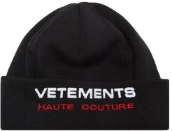 Haute Couture Logo-embroidered Virgin-wool Beanie - Mens - Black