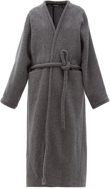 V-neck Wrapped Felted-wool Blend Coat - Womens - Grey