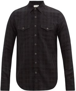 Metallic-check Wool-blend Shirt - Mens - Black White