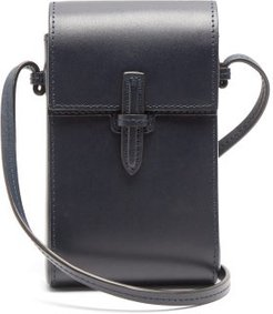 The Cell Phone Leather Cross-body Bag - Womens - Navy