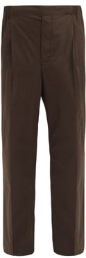 Elasticated-waist Cotton-twill Trousers - Mens - Dark Green