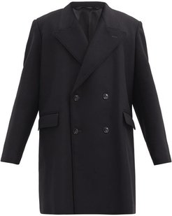 Double-breasted Wool-blend Coat - Mens - Black