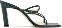 Yara Buckled Leather Sandals - Womens - Dark Green
