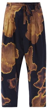 Bleached Silk-blend Wide-leg Cropped Trousers - Mens - Navy