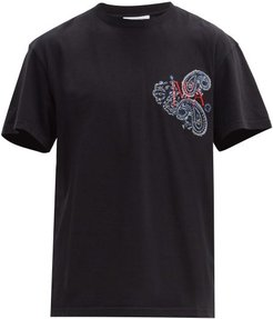 Logo-embroidered Cotton-jersey T-shirt - Mens - Black