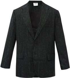 Jacquard-text Single-breasted Wool-blend Jacket - Mens - Green