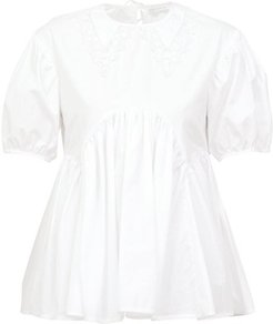 Mie Lace-trimmed Collar Flared Cotton-poplin Top - Womens - White