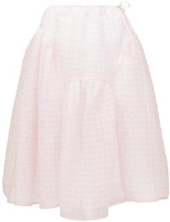 Malika Tie-side Organza Midi Skirt - Womens - Pink