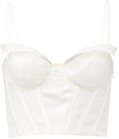 Ricino Silk Crepe De Chine Bustier Top - Womens - Cream
