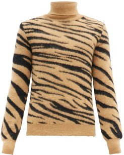 Roll-neck Tiger-jacquard Mohair-blend Sweater - Mens - Black Beige