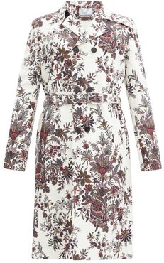 Paisley And Floral-print Cotton-blend Trench Coat - Mens - White Multi