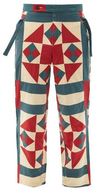 Vina Pinwheel-quilted Cotton Trousers - Mens - Grey Multi