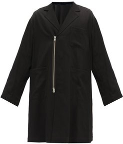 Double-breasted Zipped Wool Coat - Mens - Black
