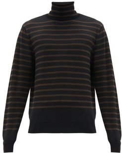 Roll-neck Striped Wool Sweater - Mens - Black