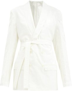 Double-breasted Belted Silk-blend Jacket - Womens - Ivory