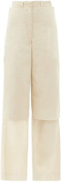 Layered Cotton-ventile Wide-leg Cargo Trousers - Womens - Cream