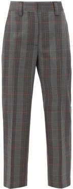 Wool-blend Houndstooth Cropped Trousers - Womens - Blue Multi