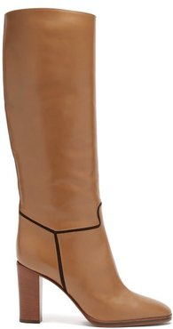 Piped Knee-high Leather Boots - Womens - Brown