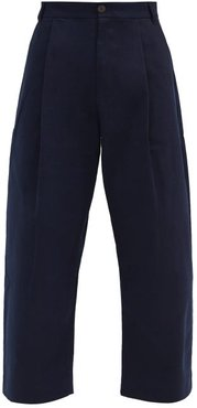 Pleated Cotton-twill Wide-leg Trousers - Mens - Navy