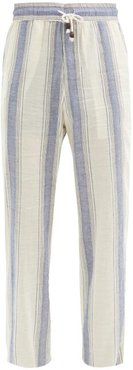 Drawstring High-rise Striped Cotton Trousers - Mens - Blue Multi