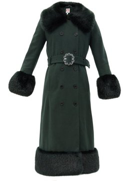 River Faux Fur-trimmed Recycled Wool-blend Coat - Womens - Green