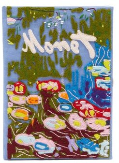 Monet Water Lillies Embroidered Book Clutch - Womens - Blue Multi