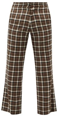 Pleated Checked Cropped Wool Suit Trousers - Mens - Brown