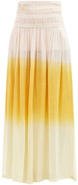 Gioia Ruched Dip-dyed Cotton Maxi Skirt - Womens - Orange Multi